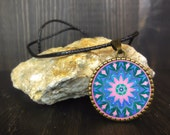 "Pink and blue mandala necklace for christmas gift woman, Buddhist necklace for spirituality, mystical, bronze pendant plated 1"" diameter."