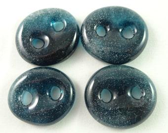 Art glass sewing buttons, aqua blue,  knitting button, fastener, needlecraft supply