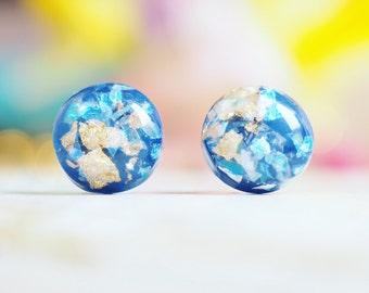 Iridescent Blue & Gold Studs | Studded Earrings