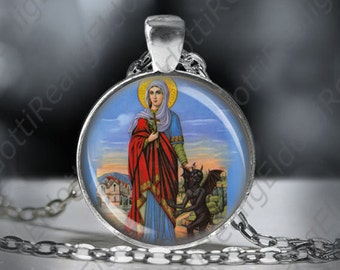 St. Margaret of Antioch Catholic Necklace Christian Medal Pendant Patron Saint Religious Jewelry