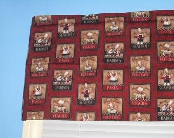 Burgundy Red Black Cream 100% Cotton Chef  Window Topper Curtain Valance