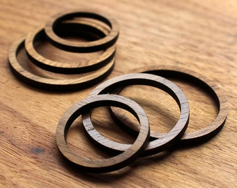 6 Concentric Circle Wood Beads : Walnut Plywood