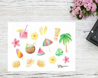 Planner stickers tropical vacation stickers, beach tropic stickers