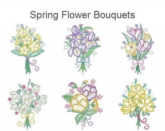 Spring Flower Bouquets Machine Embroidery Designs Instant Download 4x4 5x5 6x6 hoop 10 designs APE2502