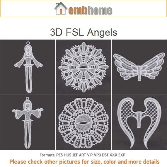 3D FSL Angels Free Standing Lace Machine Embroidery Designs Instant Download 4x4 Hoop 5 Designs ...