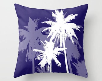 Palm Trees Pillow with insert - Tropical Beach Decor - Blue and White - Modern Home Decor -