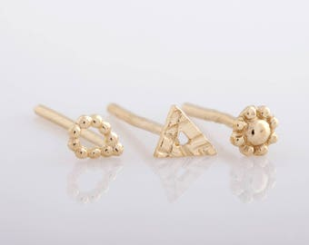 Earring Set, Post Earrings, Tiny Earrings, Stud Earrings, Tiny Gold Earrings, Small Stud Earrings, 14k Gold Earrings, Stud Earring Set,  Set