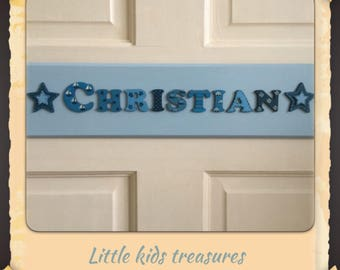"""Bespoke  x large personalised name plaque 16x4"""" with cute lettering. Boy / girl Suitable 8-12 letter names. Little kids treasures"""