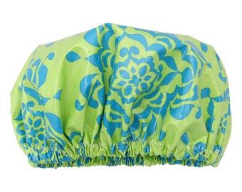 Luxury Shower Cap/ Shower Hat Laminated Cotton Sea Green
