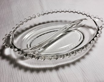 Two Part Oval Divided Relish Dish in Candlewick-Clear by Imperial Glass-Ohio