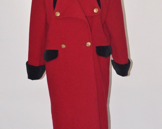 Vintage Estate AUTHENTIC Christian Dior Red Black Full Length Coat