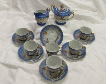 Tea Set, Fifteen Pieces, Blue and White, Raised Relief Dragon, J.B. Betson's China, Japan, 1940's or Earlier