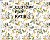 Custom order for Katie.  Bumper pads.  Changing blanket cover. Small minky travel blanket. Sprigs and blooms.  Spoonflower fabric bedding.
