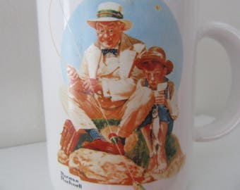 Vintage Coffee Mug Norman Rockwell Catching the Big One, 1987, Museum Collections, Father's Day Gift, Fishing Collectable