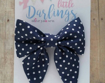 SALE! 30% OFF**Sailor Hair bow, Toddler hair bow, Baby hair bow, Teen hair bow, Girl Hair bow- Navy and white dots