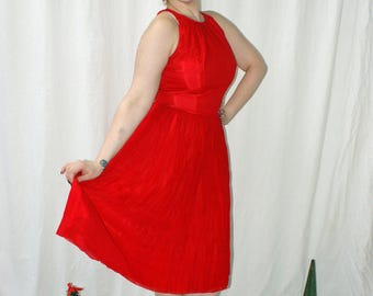 CLEARANCE 1960s Lipstick Red Party Dress