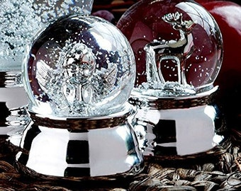 Noble SnowGlobe Angel - silver plated and protected start - 6.5 cm great snow globe angel metal