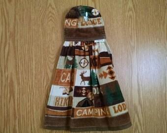 Hanging Kitchen Towel, Tea Towel, Hand Towe, Dish Towel, Cabin Lodge Camping, Velcro