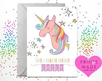 Unicorn personalised birthday card A5