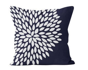 45 colors Dahlia Flower Pillow Cover, navy blue teal turquoise dahlia pillow cover, flower pillow cover