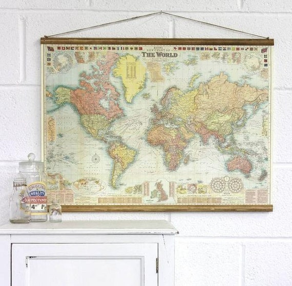 Wall hang mapsntage world map chart poster and hanger kit 4 vintage world map chart poster and hanger kit gumiabroncs Choice Image