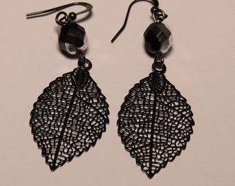 Leaf Earrings,  Delicate Black Earrings, Long Dangle Leaves Earrings