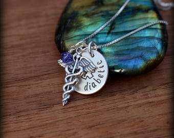 Medical staff necklace, Caduceus necklace, Diabetic necklace