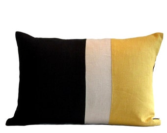 Kravet Mustard/Natural/Black Linen Pillow Cover