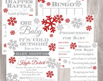 Winter Baby Shower Pack, Red and Silver Snowflake Invite, Diaper Raffle Ticket, Book Request, Baby Bingo Predictions Cards Instant Download