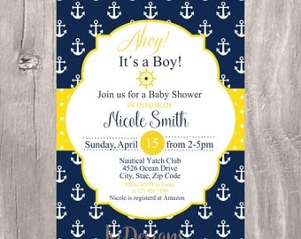 Nautical Baby Shower Invitation, Navy and Yellow Printable Invite, Nautical Ahoy Its a Boy Printable Baby Shower Invitation, Boy Baby Shower