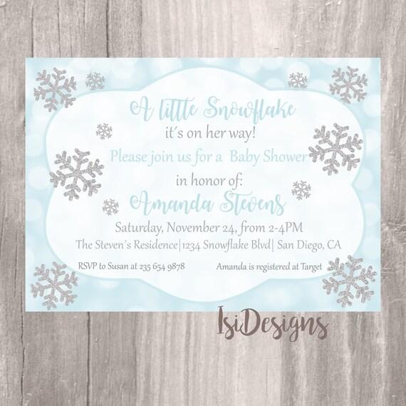 baby shower invitation winter wonderland blue and silver snowflake