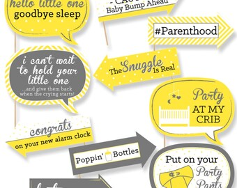 Funny Hello Little One Baby Shower Photo Booth Props - Gender Neutral Photobooth Prop Kit - Yellow Decorations - 10 Photo Props & Dowels