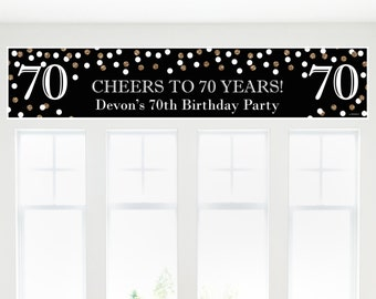 70th Birthday Banner - Adult 70th Birthday - Gold Personalized  Banner - Birthday Party Decorations