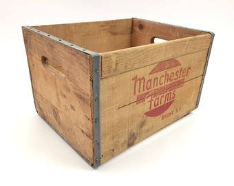 Vintage Manchester Farms Bronx NY Wooden Crate