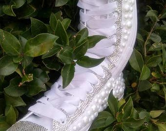 Custom Rhinestone And Pearls Handmade Converse Shoes Glam Diva Fit For A Queen