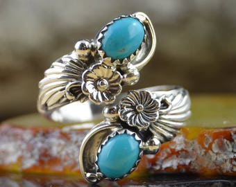 Navajo sterling silver, kingman turquoise adjustable spoon style ring size 7.5