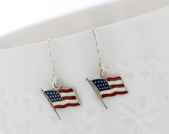 Sterling Silver Hand Painted American Flag Dangle Earring, Tiny, American Flag, Patriotic, Flag Earring, Patriotic Earring, USA, 4th of July