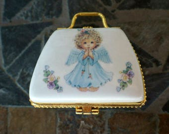 Vintage Hinged Porcelain Purse Trinket/Jewelry Box
