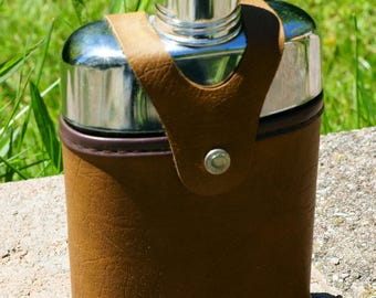 Vintage Pocket Flask with Faux Leather Sleeve