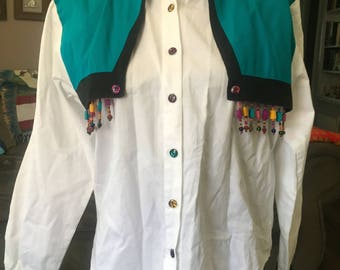 Vintage 1990's western shirt WITH BEADS