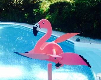 Flamingo whirligig, wind spinner, wooden, whirli, yard art