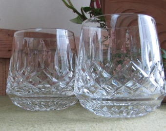 Waterford Lismore Roly Poly Glasses Set of Two (2) Rock Glasses Vintage Barware Crystal Elegant Dining and Entertaining