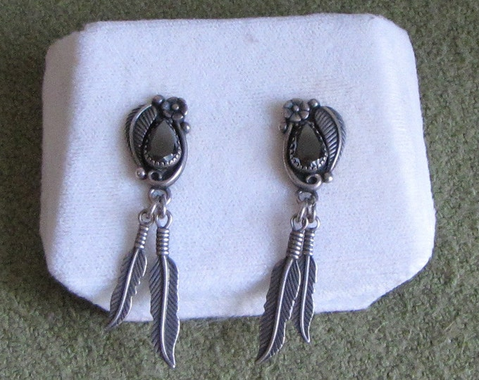 Wheeler Native American Sterling Silver Earrings Dangled Feathers and Black Stone Pierced Earrings