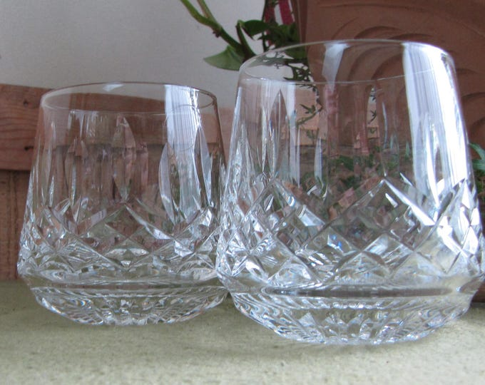 Waterford Lismore Roly Poly Glasses Set of Two (2) Rock Glasses Vintage Crystal Barware