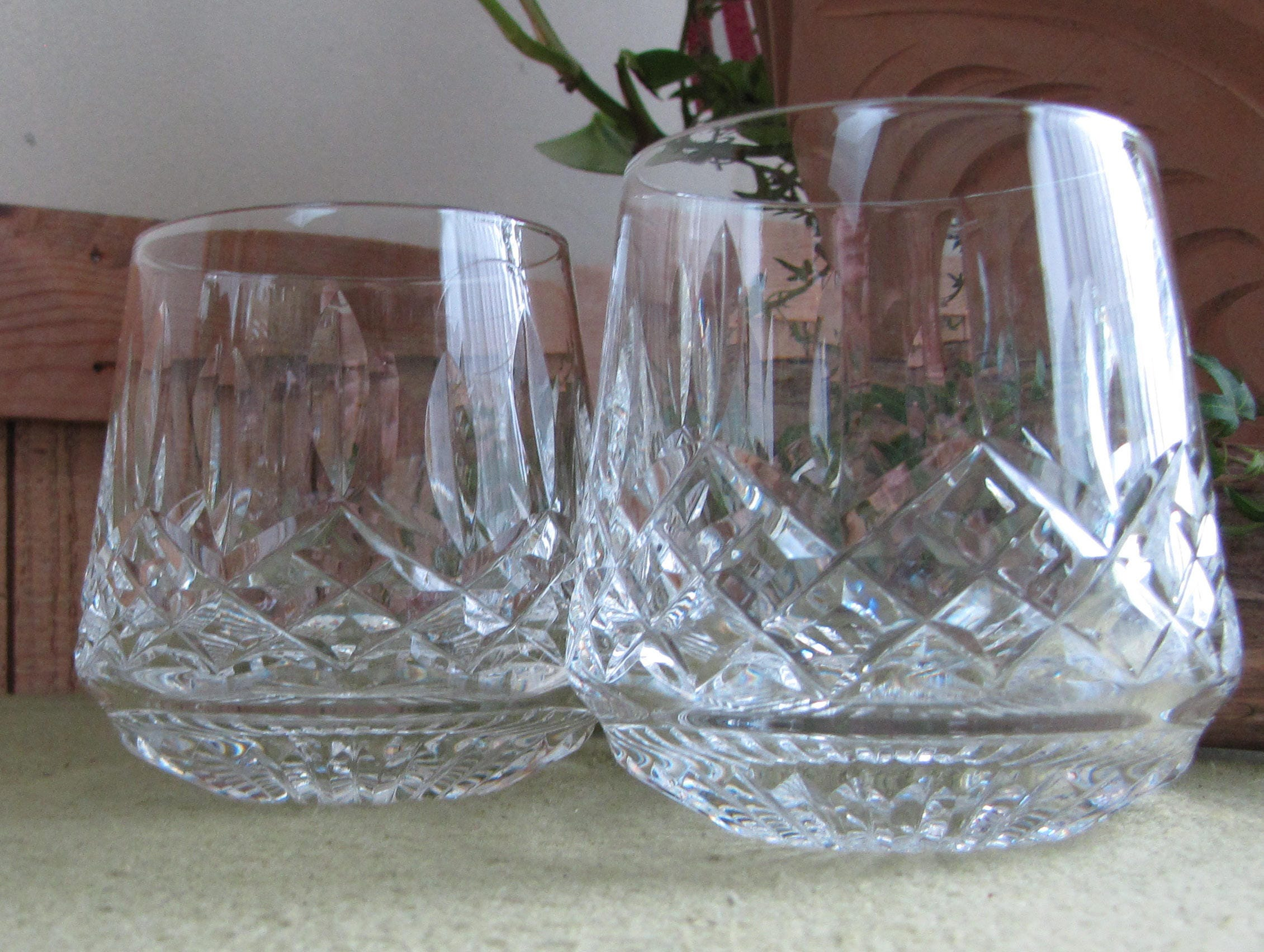 Waterford Lismore Roly Poly Glasses Set of Two (2) Rock ...