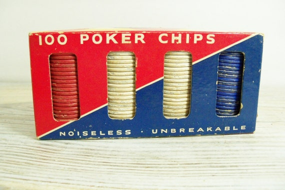 Vintage Poker Chips Paragon Pressed Paper Poker Chips Noiseless Unbreakable Embossed #S4276 ANC Made in USA 1950s 98 Pieces Original Box