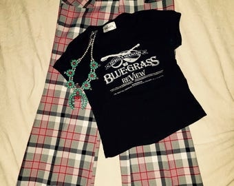 Plaid black white and red bell bottoms  size 10