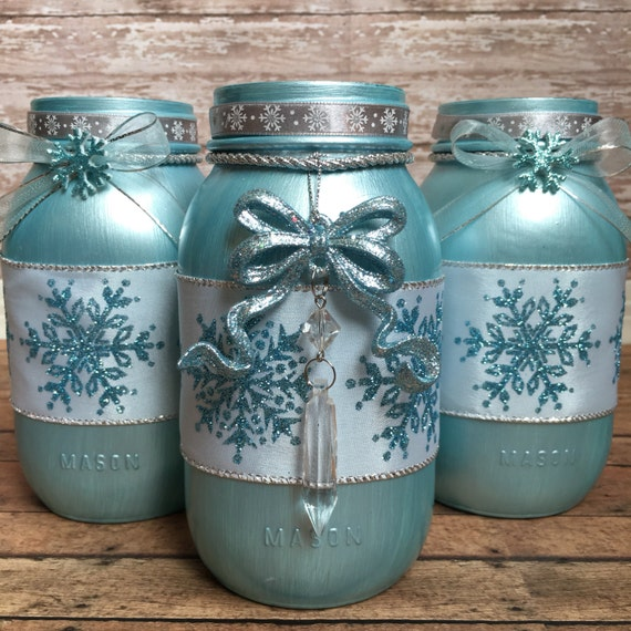 Mason Jar Christmas Decorations: Items Similar To Christmas Mason Jars, Winter Home Decor