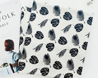 Palm Leaves Pattern 20s Oxford Cotton Fabric by Yard