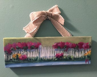 Picket fence painting, cottage chic, country art, floral landscape, ready to hang